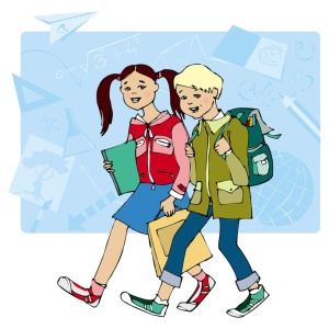 Illustration on teenagers walking to school in France