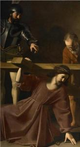 painting of Christ carrying the cross hostage
