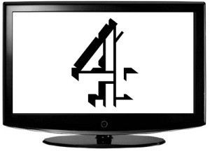 TV displaying channel 4 logo