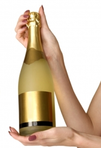 A gold bottle of champagne